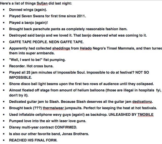 A list of things that Sufjan did last night @coachella. More festival dates to come. https://t.co/2feMjiqMta https://t.co/RxdACqnJA3