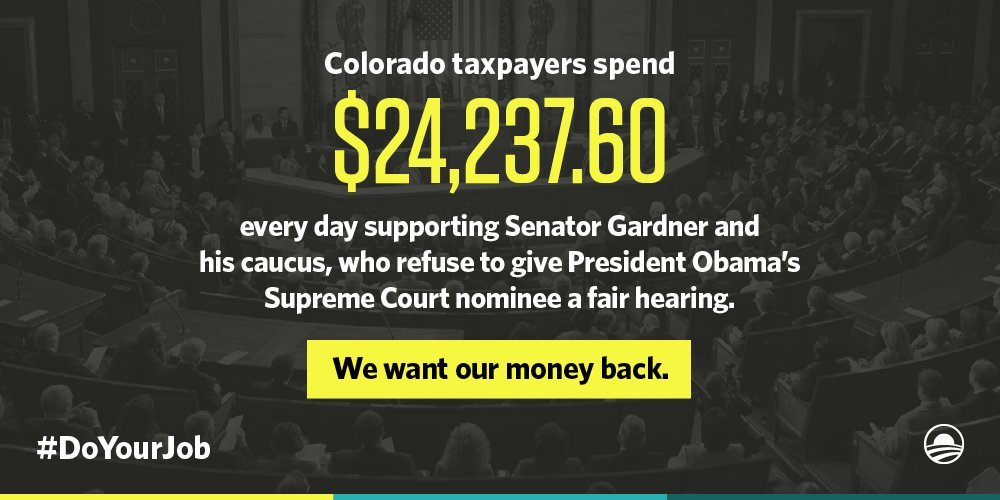 If @SenCoryGardner won't do his job, then Coloradans deserve a refund. #DoYourJob https://t.co/dWLmjCRsP2