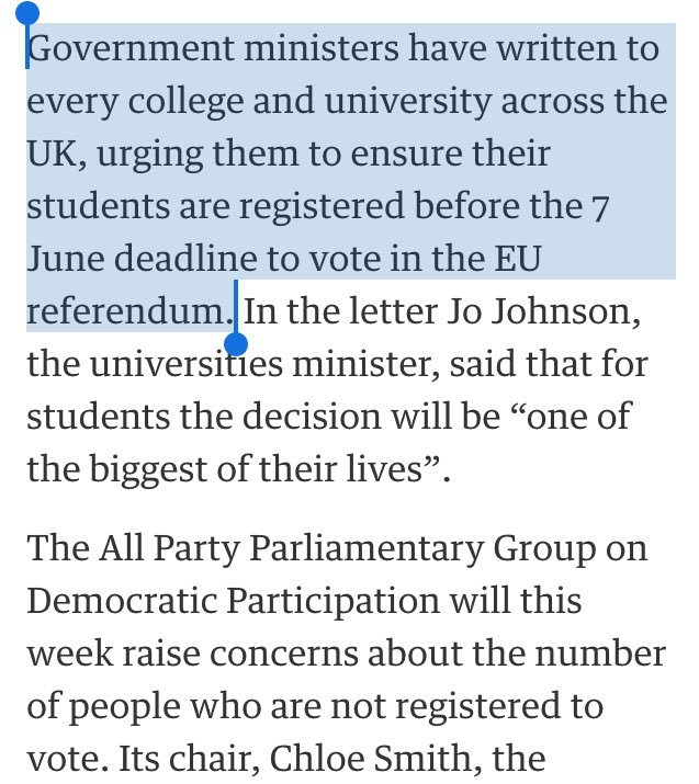 "[Tory HQ] ""Changes to voter registration removed so many leftie students. Mwahaha!"" ""But... the referendum!"" ""SHIT!"" https://t.co/4yp0wgDfWY"