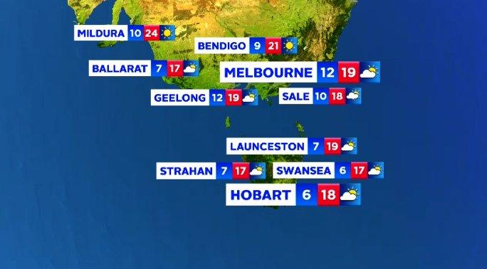 Victoria Tasmania Sunday April : News weather forecast