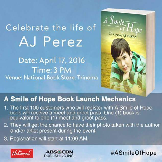 Book launch today at NBS, Trinoma. Don't forget to go there and grab your copy. Thank you!  #AJPEREZASmileOfHope https://t.co/2wZzwvQYWW