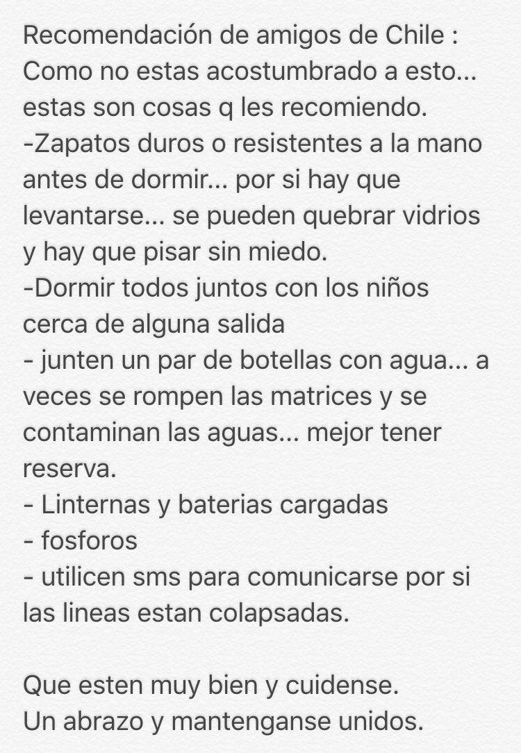 Recomendación de amigos chilenos, para temblores y terremotos. Gracias  #UnaOracionEcuador https://t.co/RK9e4jnwok