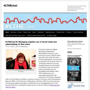 #LTHEChat: Managing Negative Use of Social Media andCyberbullying https://t.co/6Kg2kJIgcH https://t.co/J4fo3EmRxl