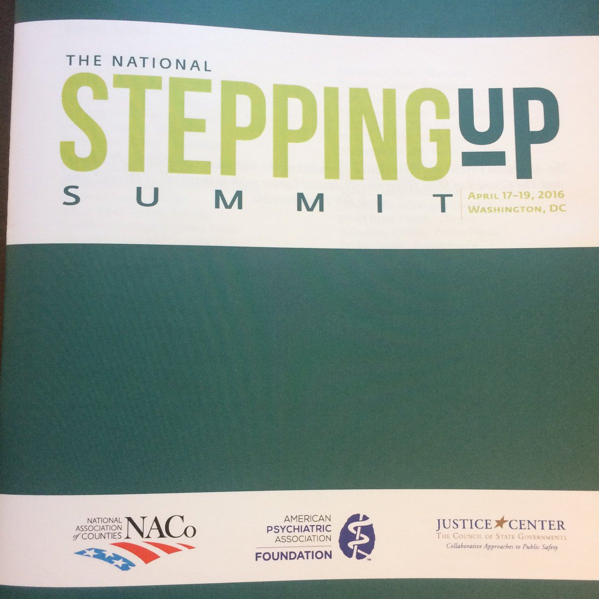 #stepup4mentalhealth. The summit begins tonight with @NACoTweets and @CSGJC https://t.co/Vs3GRqkj9S