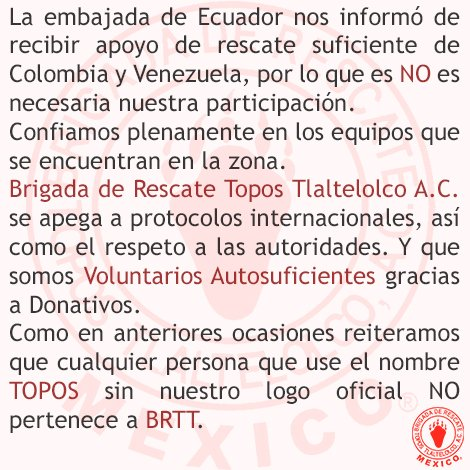 Brigada de Rescate Topos Tlaltelolco A.C. no irá a Ecuador. Nuestras condolencias al pueblo ecuatoriano. Leer imagen https://t.co/rLEC4hLANR