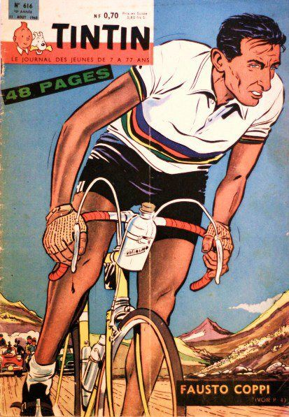 Fausto Coppi, on the cover of Tintin Magazine back in 1960. By Edgar P. Jacobs, a Belgian comic book creator. https://t.co/Ya1tSaKVCF