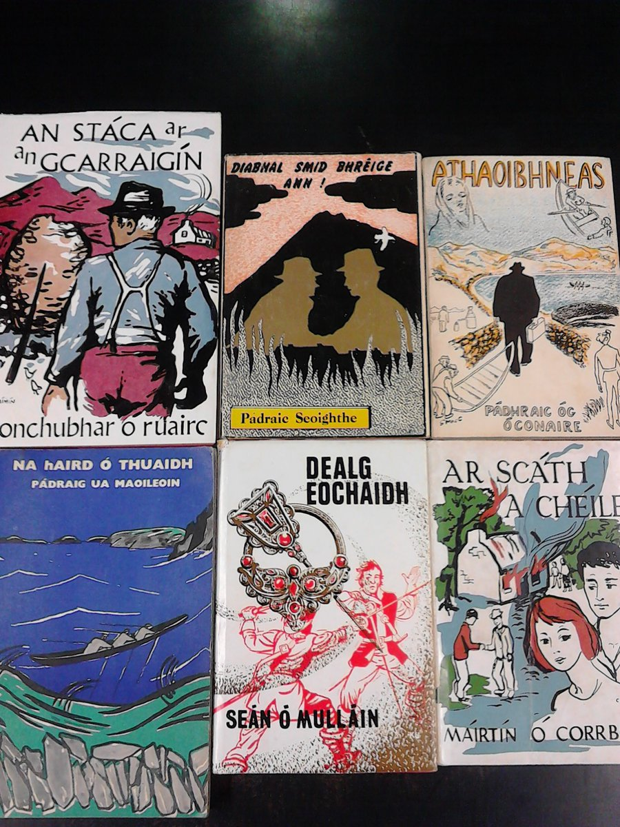 Just in secondhand: books in Irish. (Just look at those covers.) https://t.co/CkM9ziGuQ3 https://t.co/fE6vHuqyMM