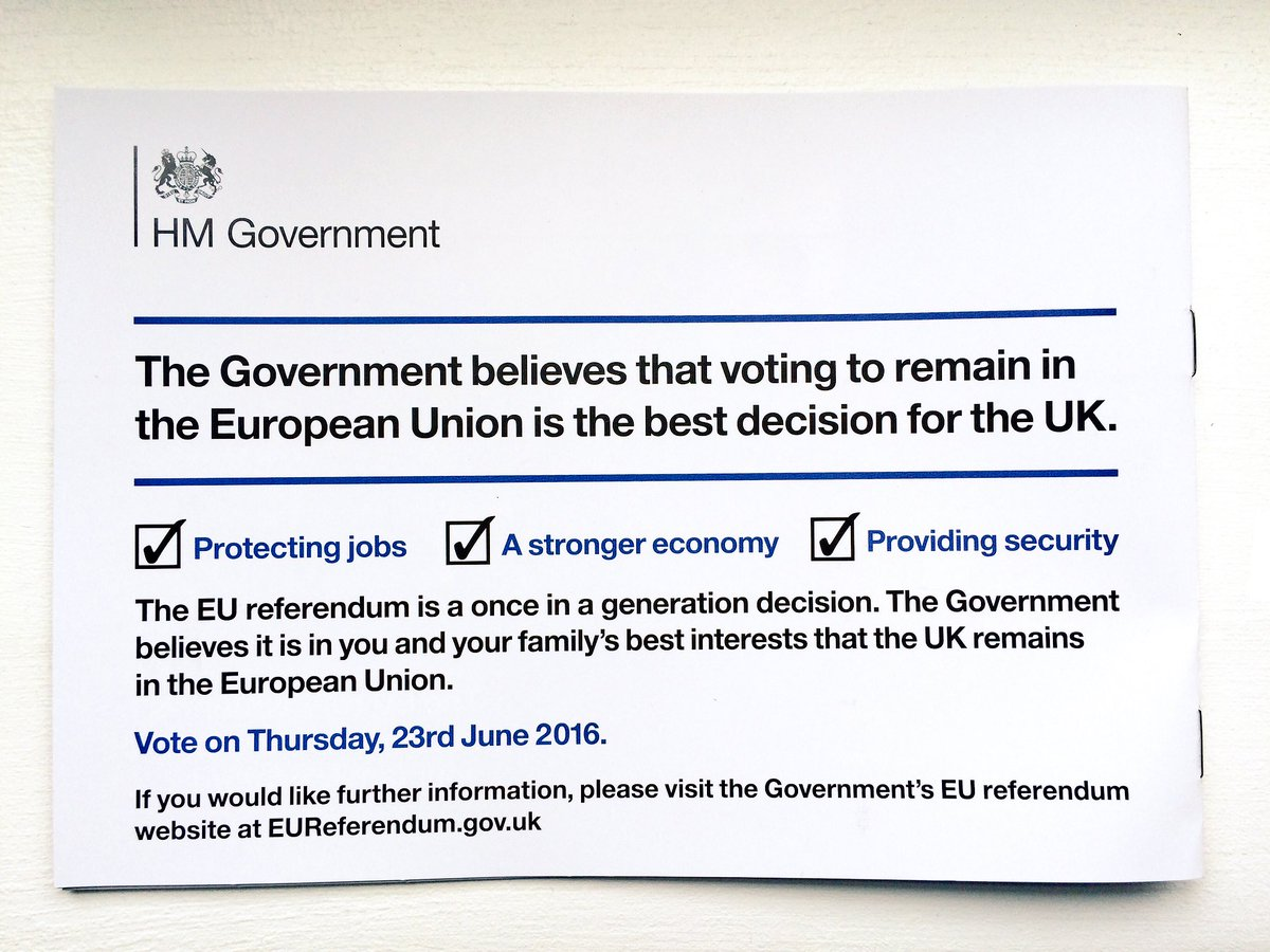 The referendum is a once in a generation decision. The Government believes it is in you and your family's best interests that the UK remains in the European Union.