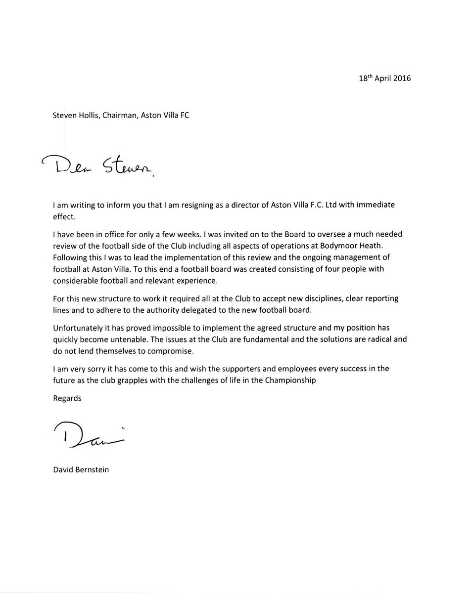 David ornstein on twitter exclusive david bernstein resignation david ornstein on twitter exclusive david bernstein resignation letter it has proved impossible to implement the agreed structure avfc altavistaventures Images