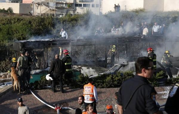 Filthy Palestinian terrorists blow up bus in Jerusalem