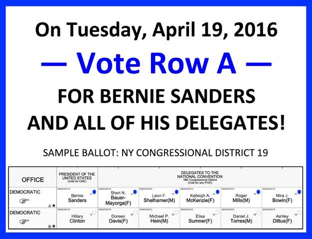 IMPORTANT #NEWYORK VOTERS SHARE ALL OVER. When voting for Bernie in #NY you must also vote for his delegates ROW A. https://t.co/7HypT2bvgN