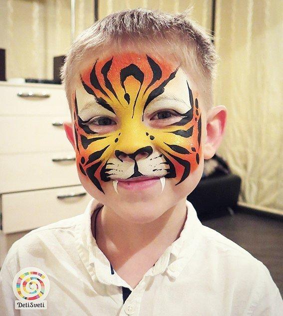 Рисунок тигра на лице картинка