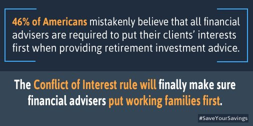 A1: @DOL's Conflict of Interest rule  ensures firms& advisers are putting families 1st #MillennialMon #SaveThatMoney https://t.co/e2tWHEjq2b