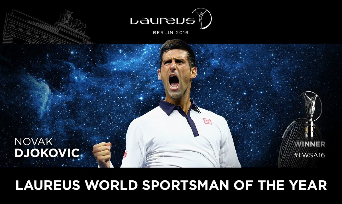 The Laureus World Sportsman of the Year is Novak Djokovic!    #LWSA16 https://t.co/npoCTtZEax