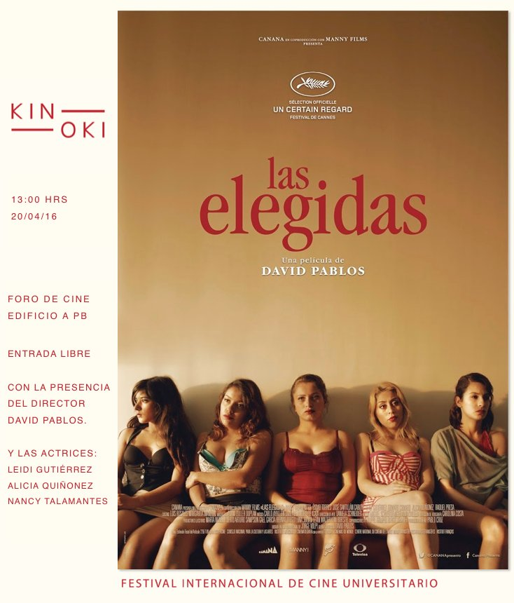 Este miércoles,1 pm, foro de cine de @comunicacionUIA de la @IBERO_mx Las Elegidas de David Pablos. Entrada libre! https://t.co/SVFP1UaQMg