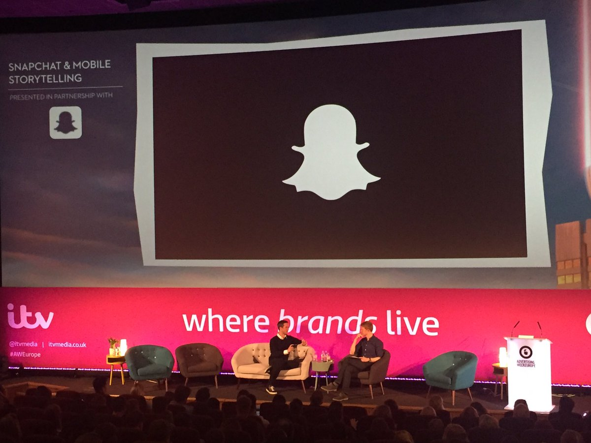 Crazy stat: @Snapchat now reaches 41% of 18-34yo in the US every day. TV is 6% for same demo. @nickbelluk #AWEurope https://t.co/BzL4yfYvL7