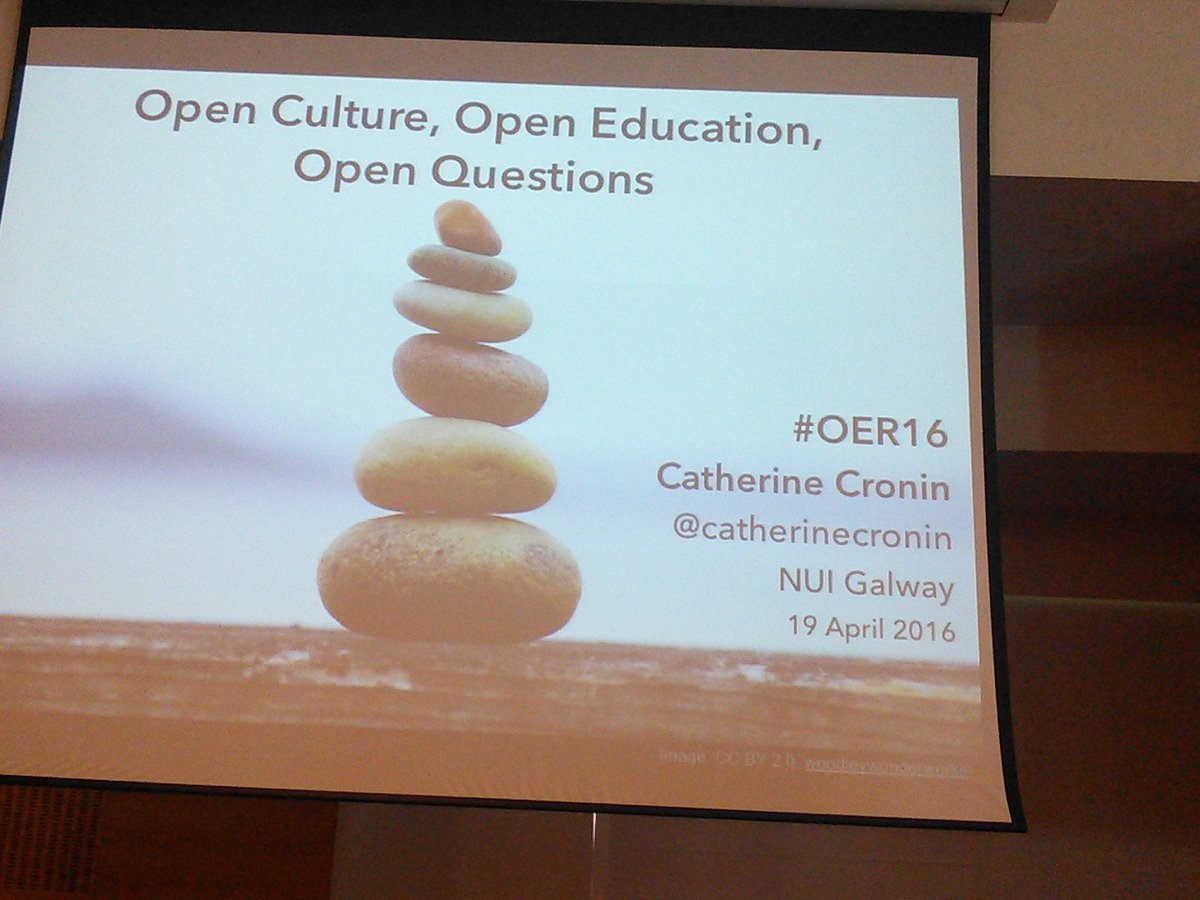 1st Keynote at #oer16 If openess is the question - what is the answer?  With @catherinecronin https://t.co/Vy9dA9PMGv