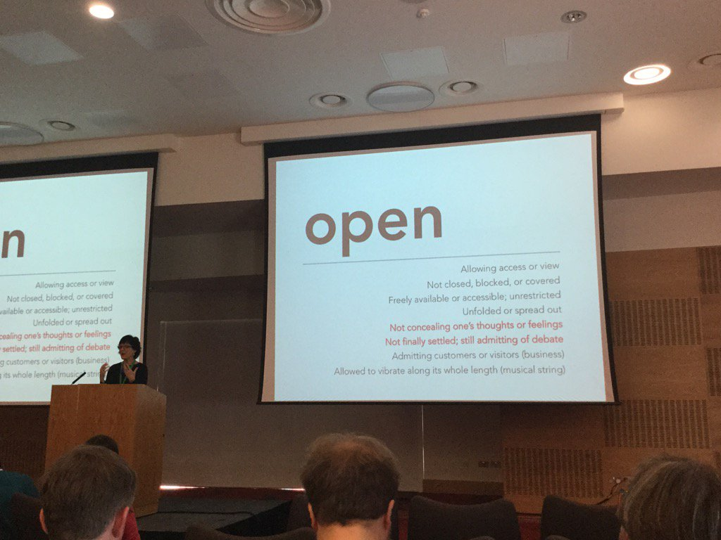 Looking forward to @catherinecronin keynote - some definitions of open #oer16 https://t.co/9HG4V3wvSL