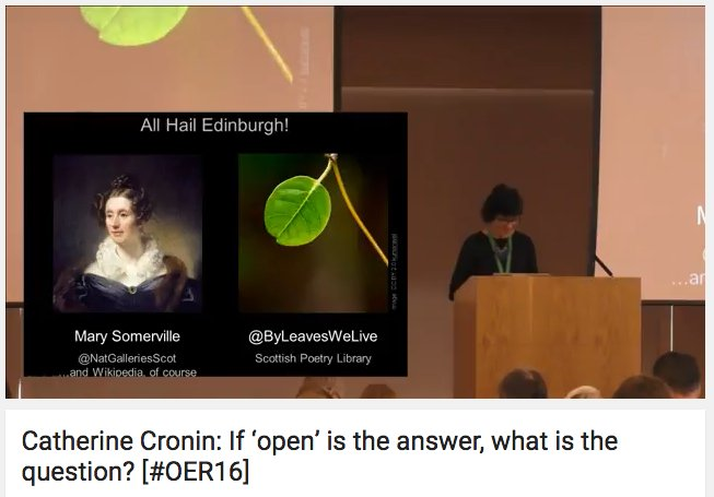 @catherinecronin Keynote now Live Streaming on YouTube (clearer than #OER16 site): https://t.co/0TPcUfxRGr https://t.co/lXon6Cf4UV