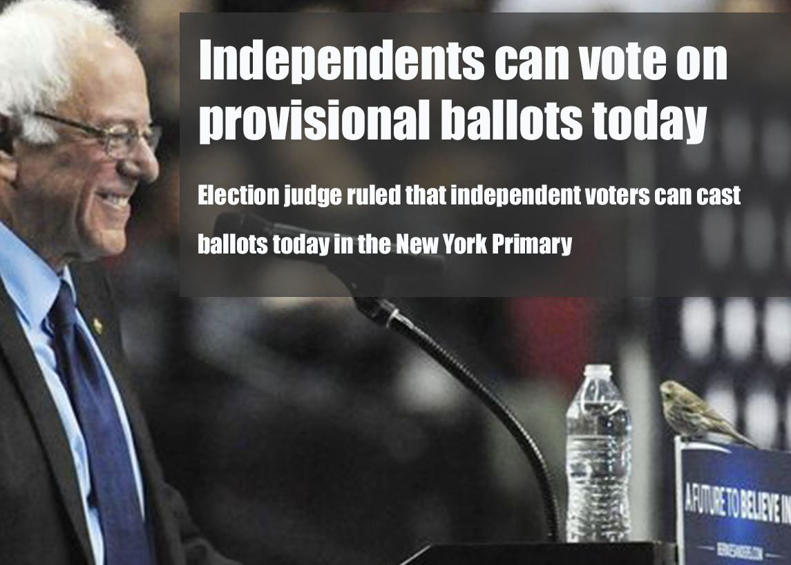 Start spreading the news: Independents can vote in the #NewYorkPrimary today #NYPrimary #PrimaryDay  Be a part of it https://t.co/qkURRig7dk