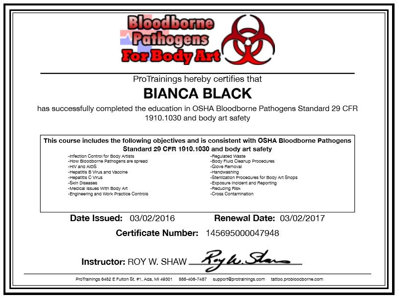 Bianca Black On Twitter Certificate In Compliance With Fdoh Osha Regulations In Respect Of The Law And Legislation For Body Arts In The Usa