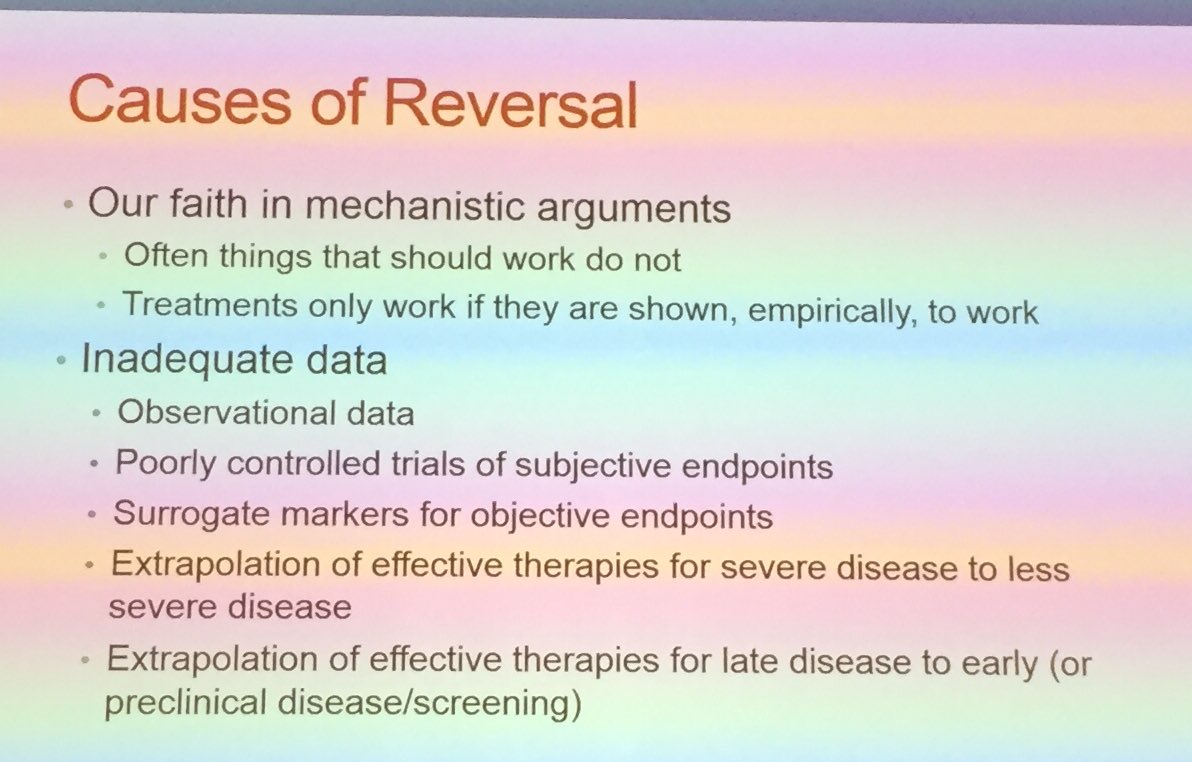 Cifu on causes of medical reversal   #1: we like to think pathophysiology works https://t.co/j2APSARiAs