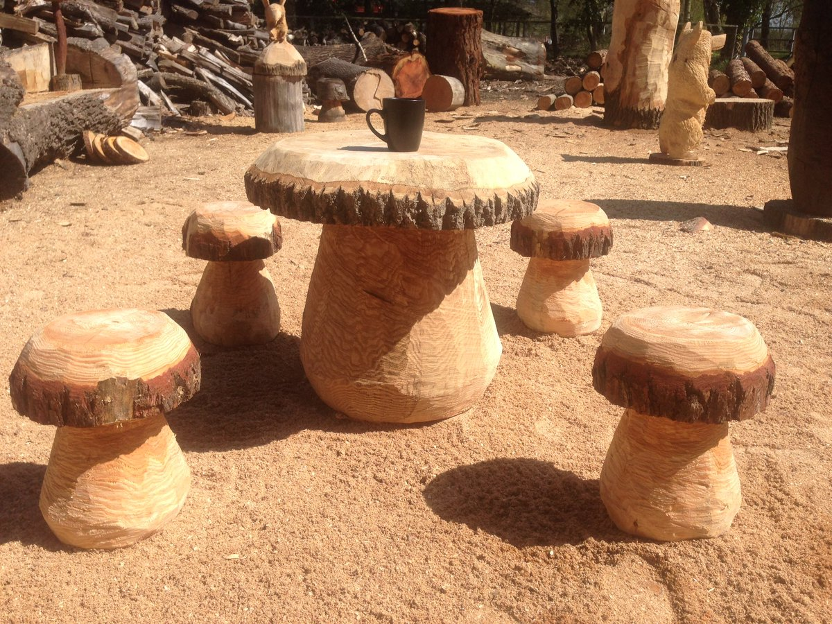 Poplar chainsaw carved mushroom tall wide etsy
