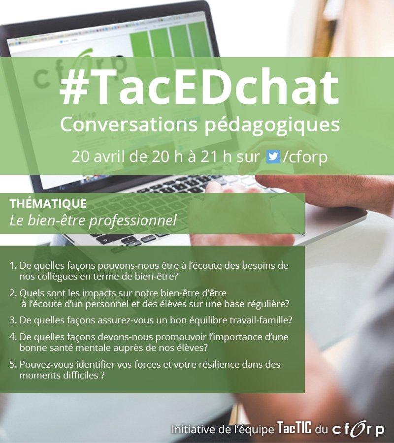 Ce soir à 20 h: le bien-être professionnel sera discuté dans le #TacEdChat. Soyez-y ! #onedchat #cforptactic https://t.co/hjThrz0aWE