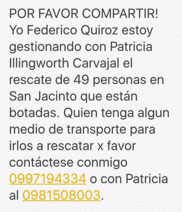 ATENCIÓN ! Se necesita urgente ! Medio de transporte para el rescate de 49 personas en San Jacinto. RT https://t.co/gCAsk46RDC