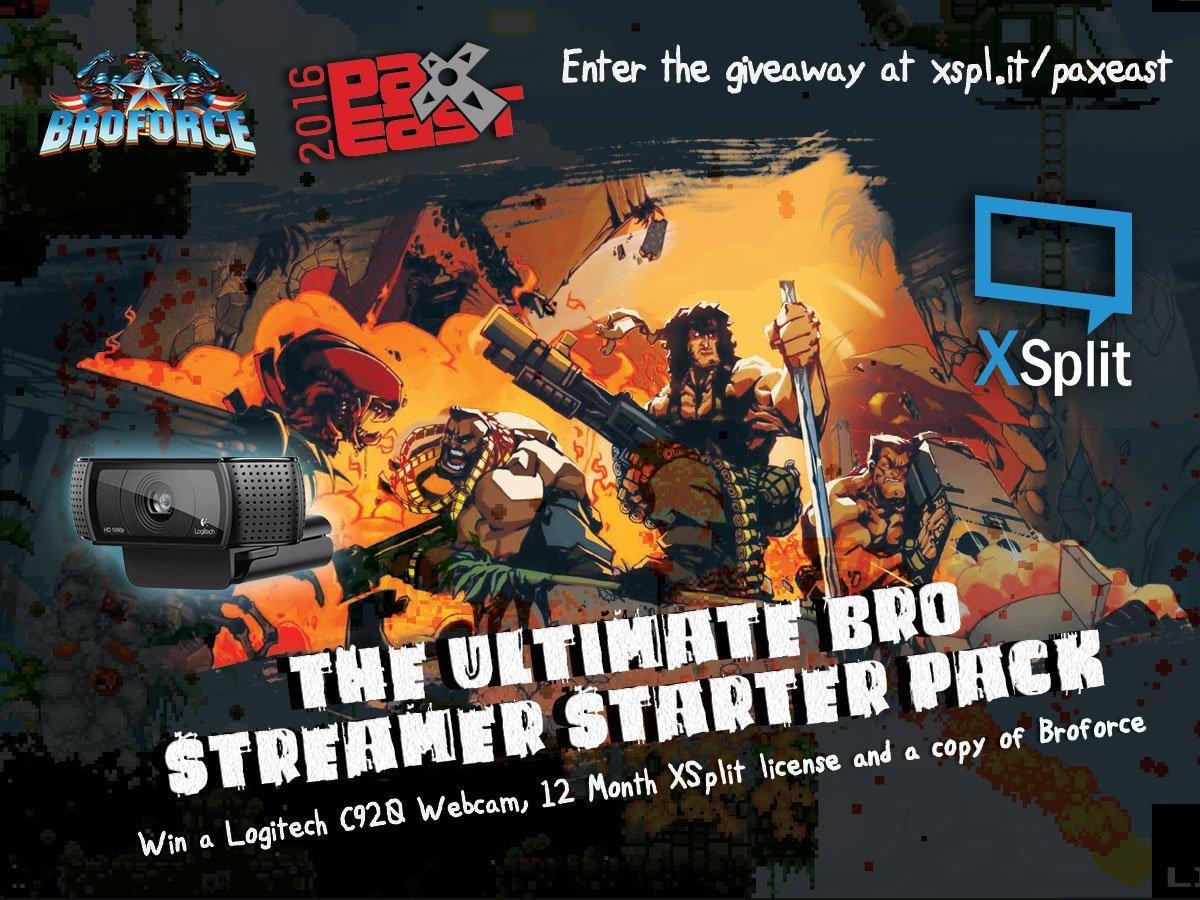 PAX East giveaway! 3 @Logitech C920 @Broforce game keys & 12-mo XSplit Premium up for grabs! https://t.co/A5zCuzrOOL https://t.co/JoplRbHXEL