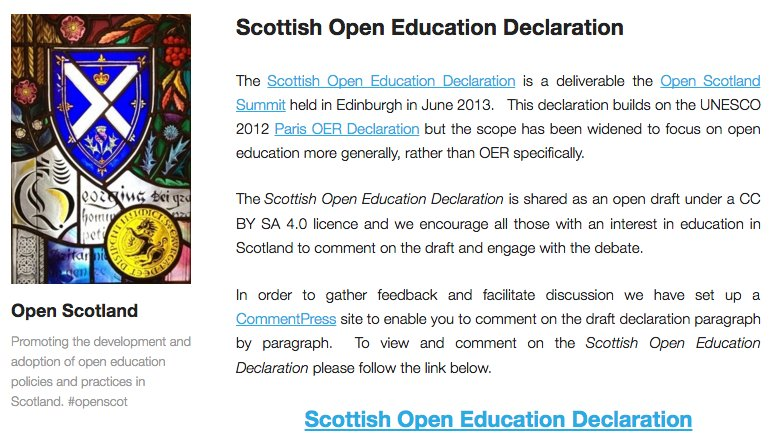 Read (& comment on) the Scottish Open Education Declaration. #OER16 https://t.co/6KEiKk73AH https://t.co/Wd7xWUa17b