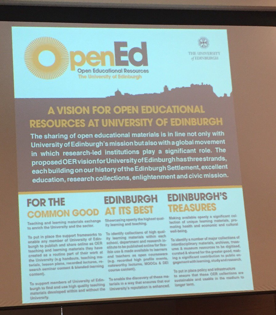 Three strands of the vision #oer16 https://t.co/Q6BAoRxRld