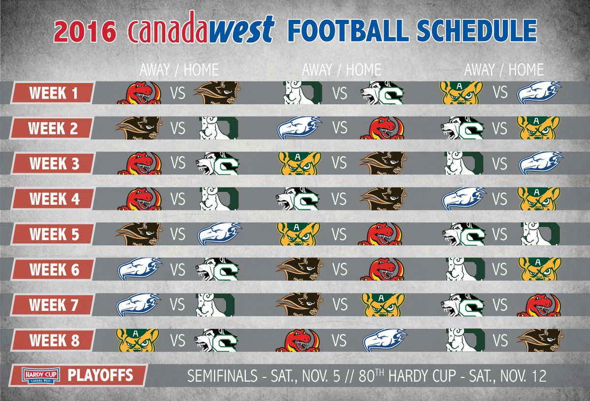 2016 Canada West football schedule kicks off September 1, #HardyCup slated for Nov. 12 - https://t.co/SfezDnaW3k https://t.co/GeXuCI0GHq