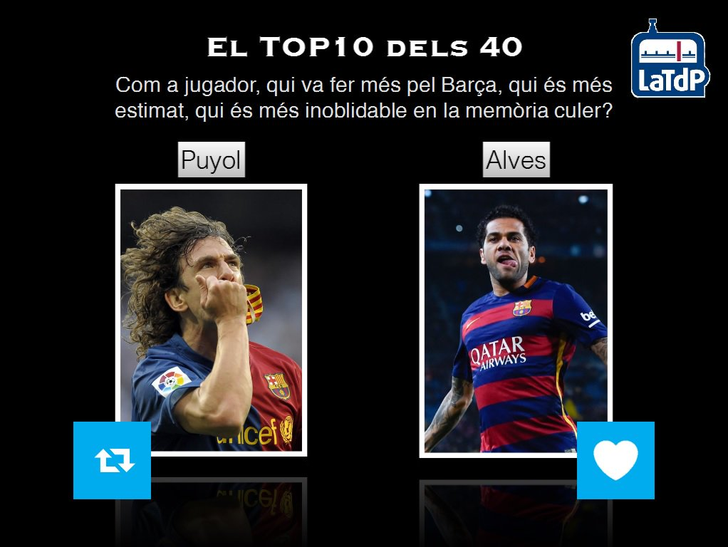 El TOP 10 dels 40 de @mariusserra  Avui, 5a final! RT - Puyol FAV - Alves https://t.co/9dSzngdyWp