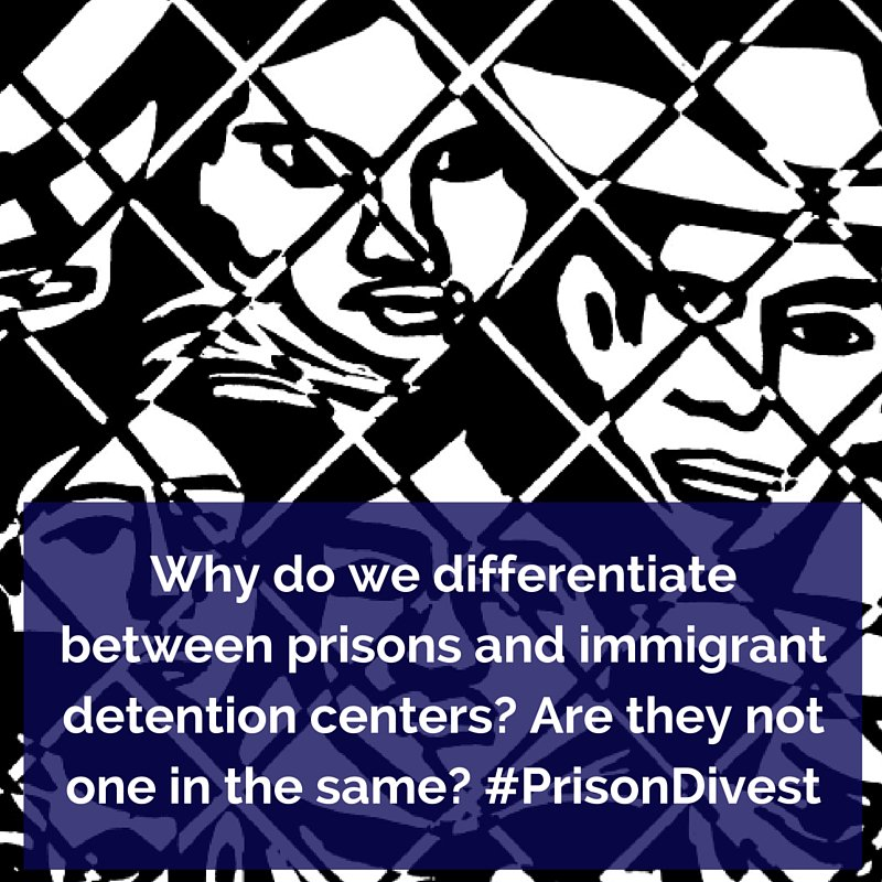 Q2: Why do we differentiate btwn prisons & immigrant detention centers? Are they not one in the same? #PrisonDivest https://t.co/0No8GENCb2
