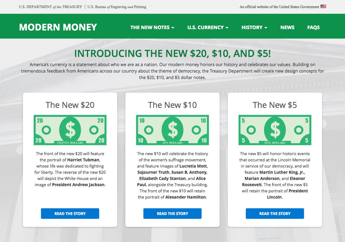 Introducing the new $20, $10, & $5! Visit https://t.co/WJ3hxN2U2g to learn more