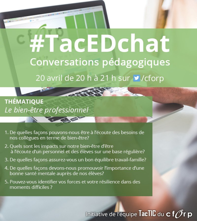 Bonsoir, et bienvenue au #TacEdChat ! https://t.co/Q7Rw60WzCx