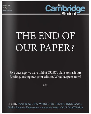 Our Easter Term issue – 'CUSU budget threatens 17-year TCS print legacy' https://t.co/ITtrtZeaPS https://t.co/SIIVL8wJaB