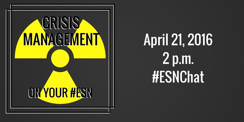 On today's #ESNchat we're discussing #ESN Crisis Management https://t.co/2kkTPHzd8T