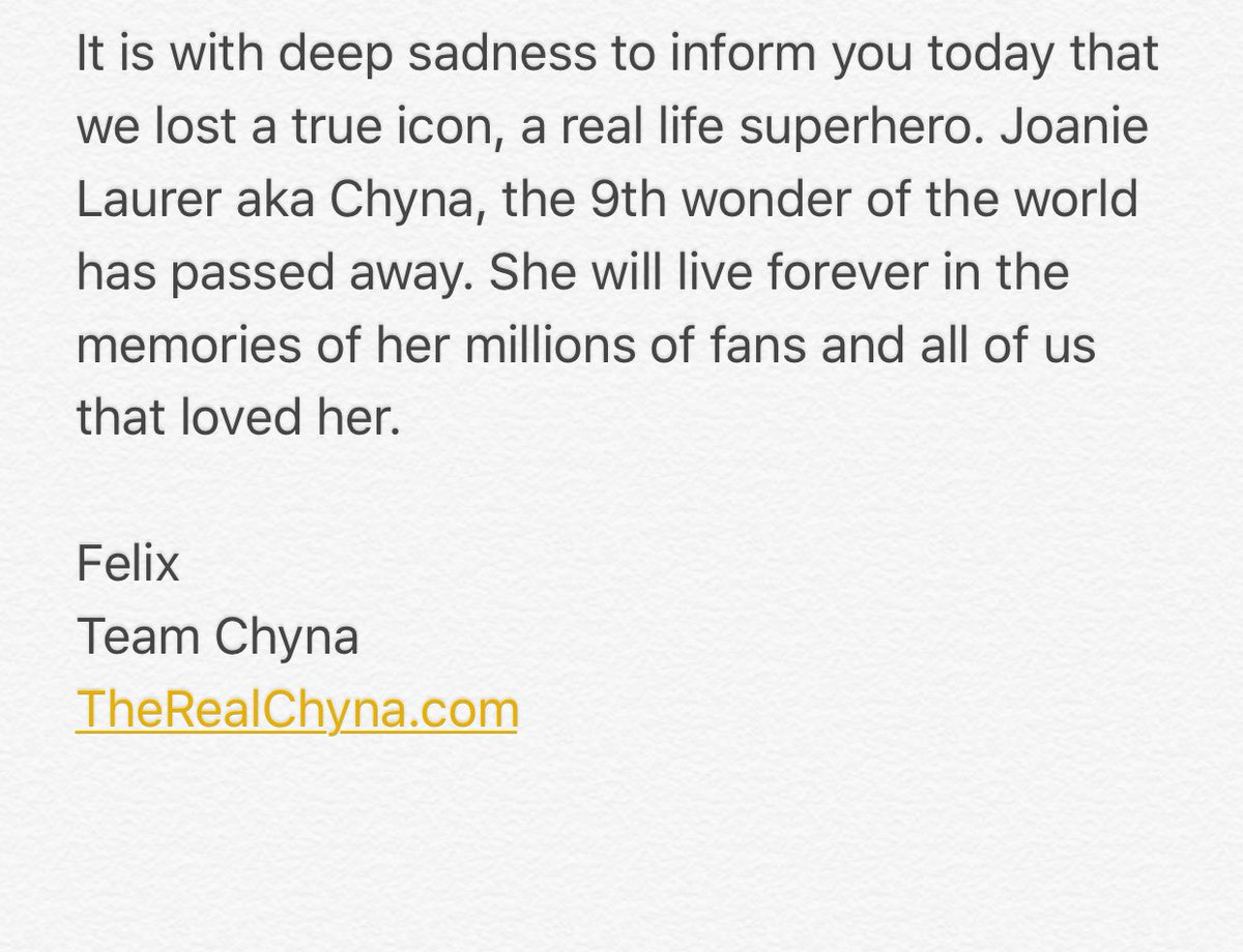 ":( ""@ChynaJoanLaurer: #RipChyna"