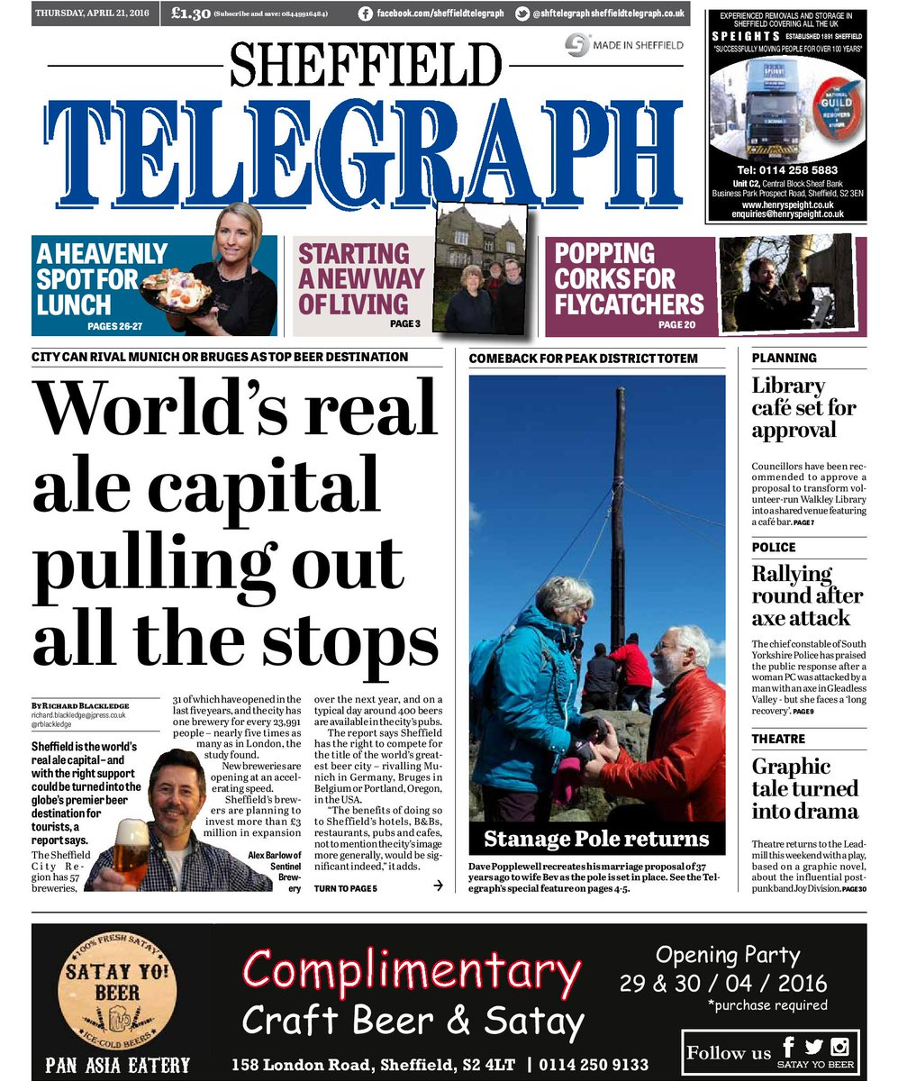 We're toasting news that #Sheffield is the real ale capital of the world in today's @shftelegraph. Cheers! https://t.co/RWHhVEIhH0