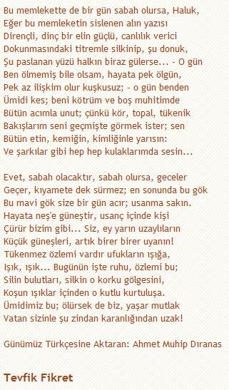 Zebercet On Twitter Tevfik Fikret Sabah Olursa şiiri Hiç