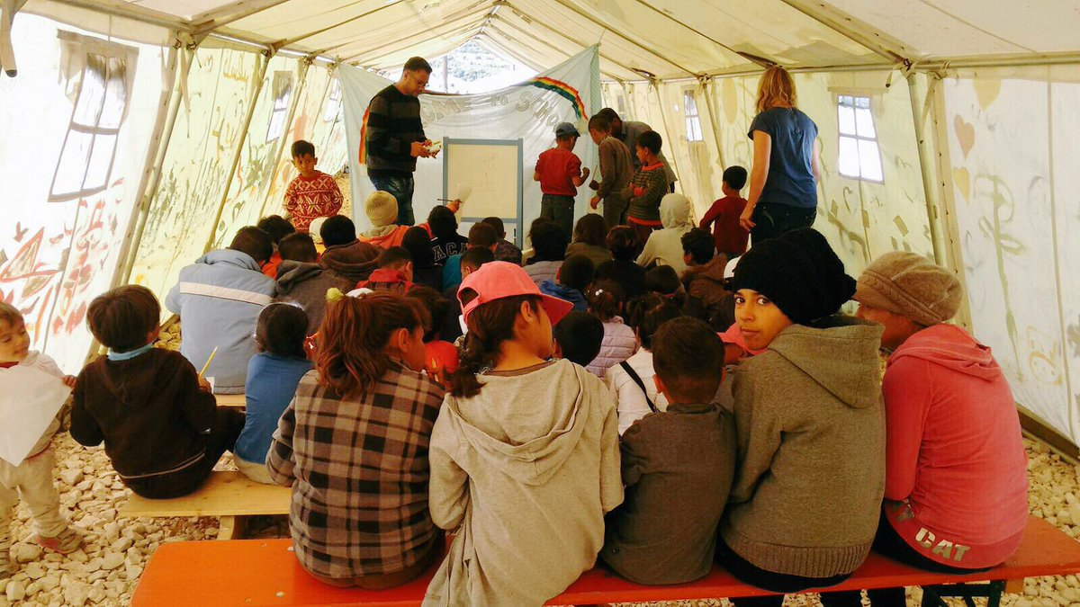 Today is the first math class in #Katsikas! Children taught by Musab, a teacher staying at the camp #refugeeswelcome https://t.co/5xlRLq5kdt
