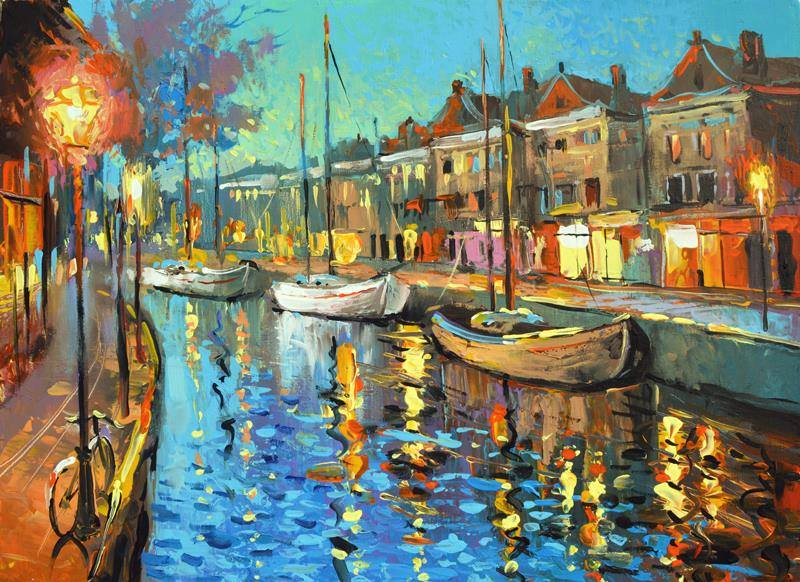Life begins at night. - Charlaine Harris #quote #painting Dmitry Spiros