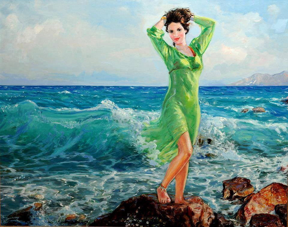 Turquoise is blue and green, when both blur into one. #painting Sefedin Stafa