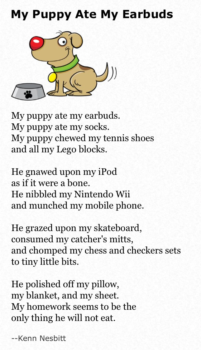 my dog ate my homework poem by kenn nesbitt
