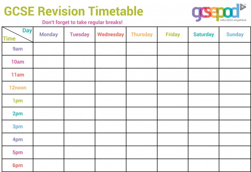 Pleasant Shireland C Academy On Twitter Create A Revision Timetable Complete Home Design Collection Epsylindsey Bellcom
