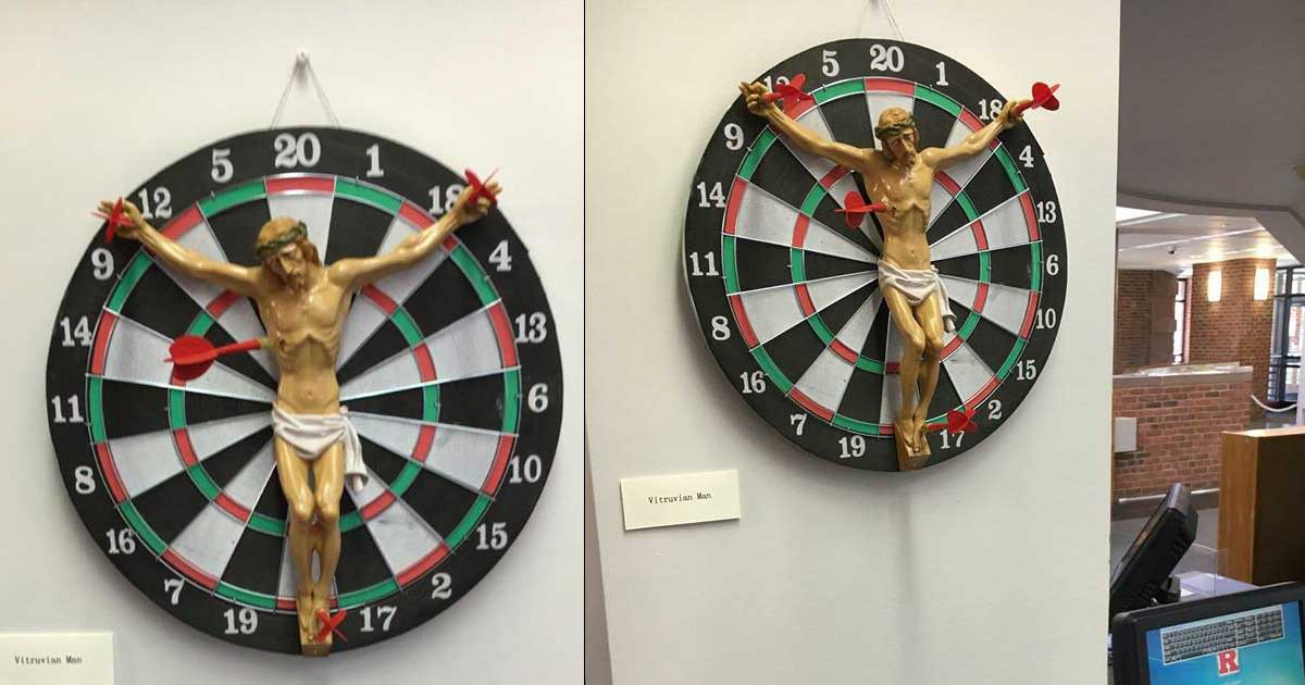 Progressive education: Jesus dartboard at Rutgers
