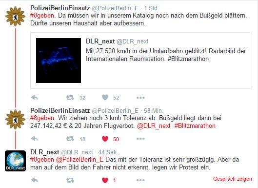 Zwei mit Humor: @DLR_next und @PolizeiBerlin_E mit der schnellsten Meldung zum #Blitzmarathon. #ISS #27.500km/h https://t.co/ricigmH801