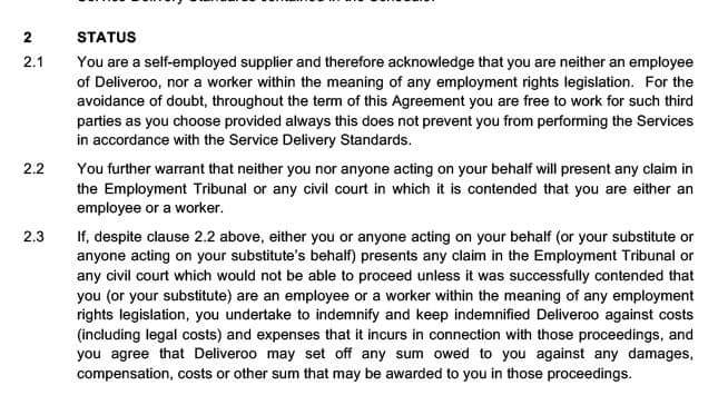 Gordon Maloney on Twitter This is the contract Deliveroo force – Self Employment Agreement